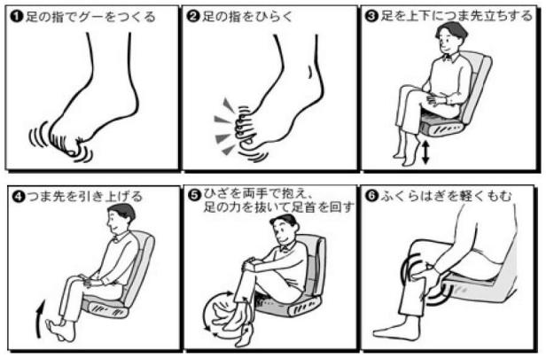 足のむくみ対策にエコノミークラス症候群の予防の足の運動をする